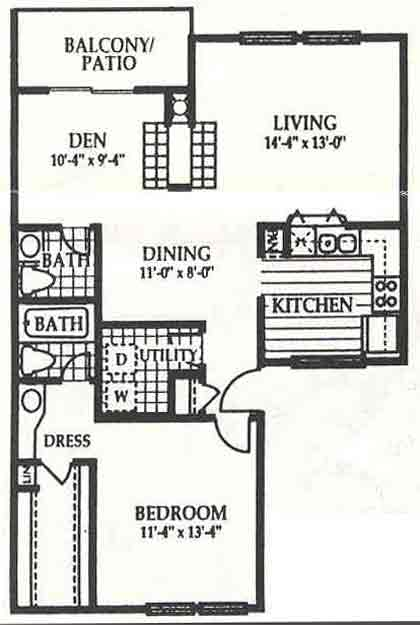 897 sq. ft. A3 floor plan
