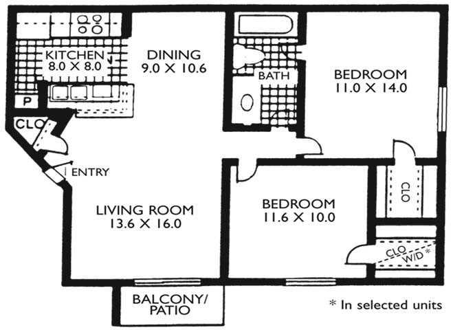 827 sq. ft. B1 floor plan
