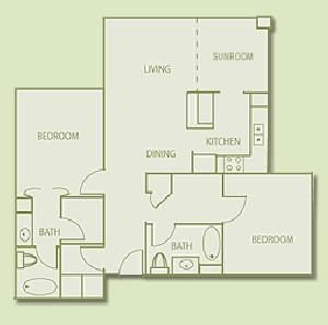 1,076 sq. ft. B4 floor plan