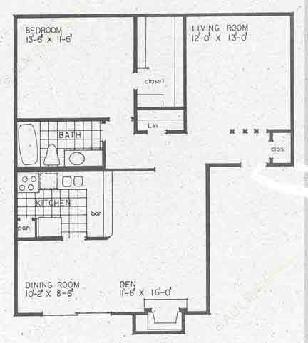951 sq. ft. A2A floor plan