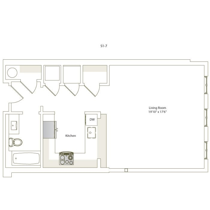 616 sq. ft. S1-7 floor plan