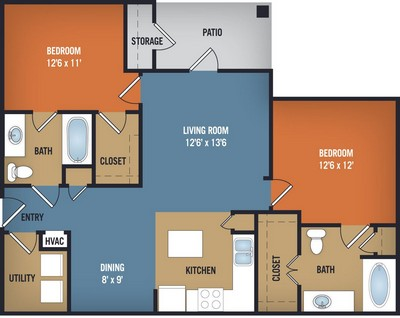 1,065 sq. ft. Monahan floor plan