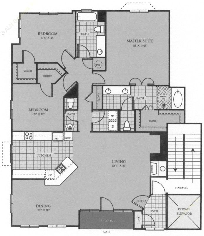 1,860 sq. ft. C1VA floor plan