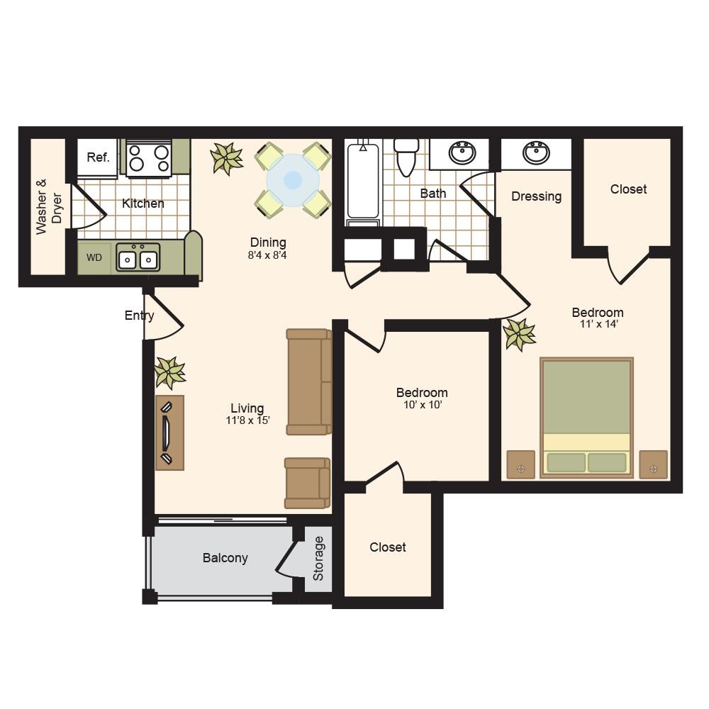 885 sq. ft. C floor plan