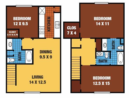 1,295 sq. ft. 60% floor plan