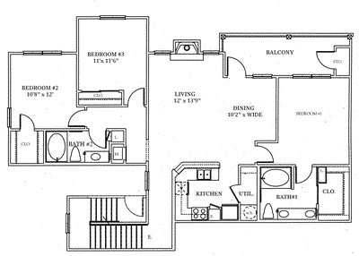 1,324 sq. ft. C2 floor plan