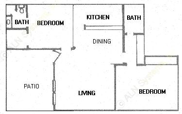 916 sq. ft. floor plan