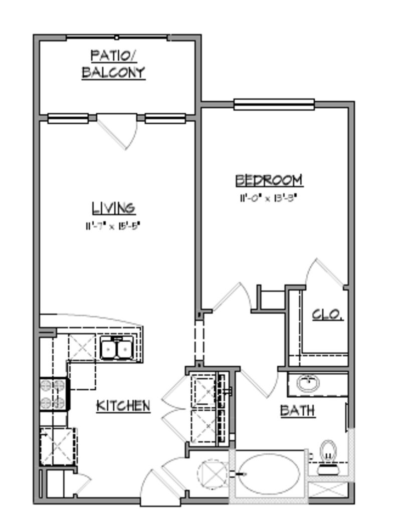 708 sq. ft. A5 floor plan