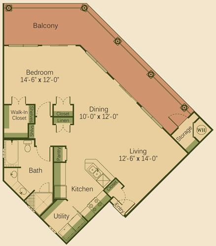 1,032 sq. ft. 1CD floor plan