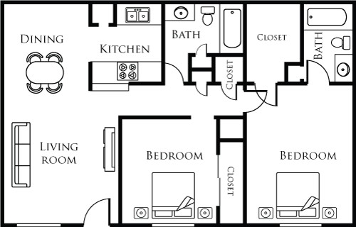 912 sq. ft. 22A floor plan