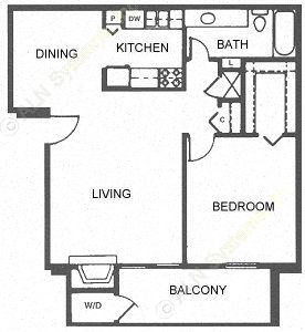 750 sq. ft. B/Villa floor plan
