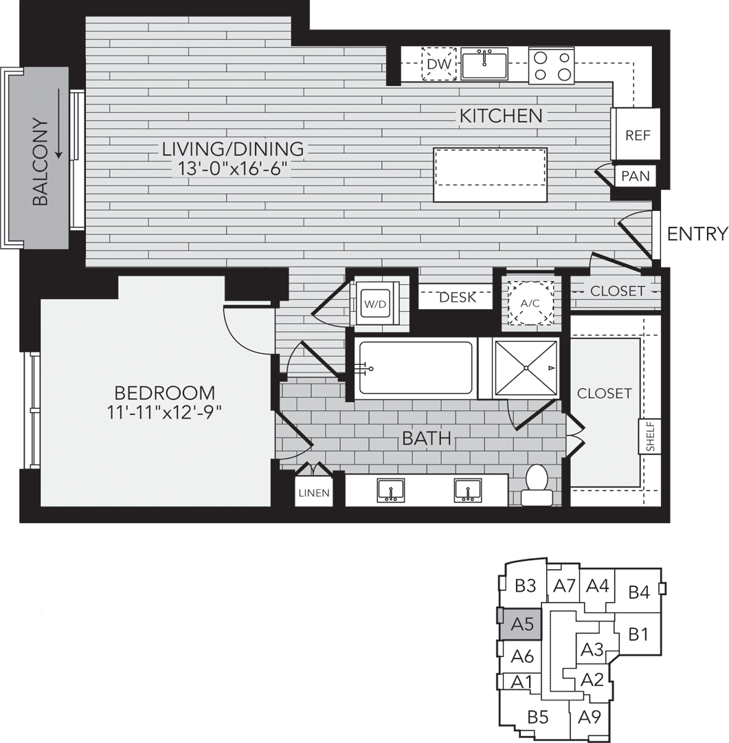 982 sq. ft. A5 floor plan