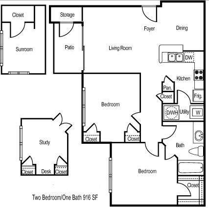 916 sq. ft. Montego Study floor plan