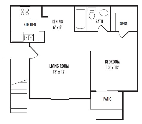 517 sq. ft. A floor plan