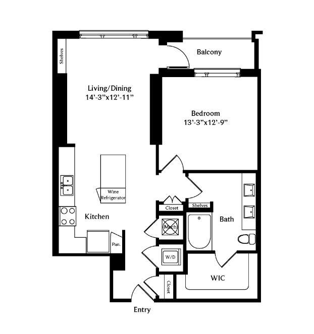 837 sq. ft. A4C floor plan