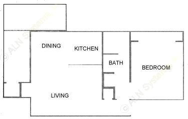 689 sq. ft. A3 floor plan
