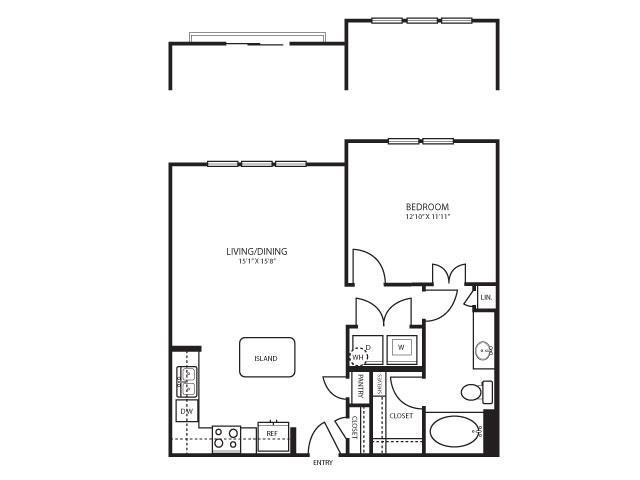 775 sq. ft. A5 floor plan