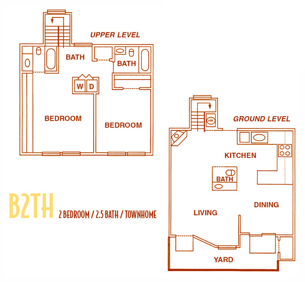 1,150 sq. ft. B2TH - B2THU floor plan