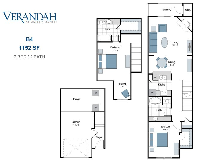 1,152 sq. ft. B4AT-GAR floor plan