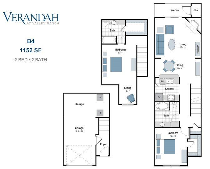 1,152 sq. ft. B4-GAR floor plan