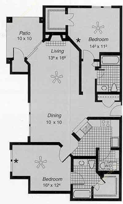 1,222 sq. ft. II I floor plan