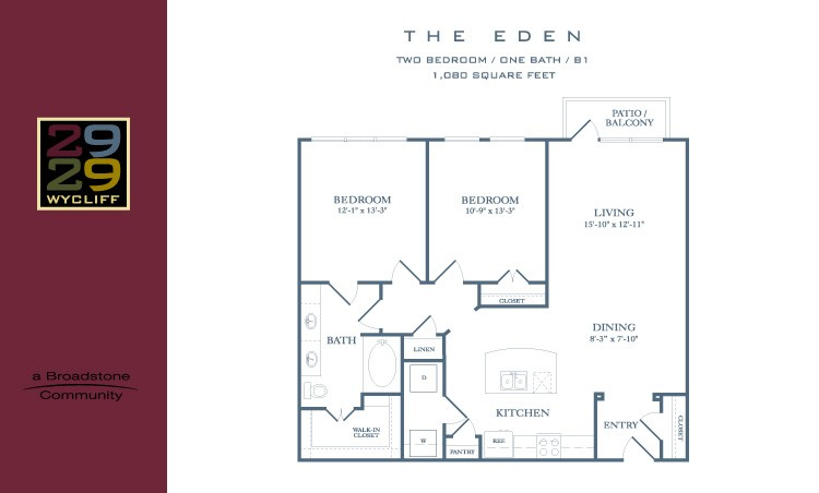 1,080 sq. ft. Eden floor plan