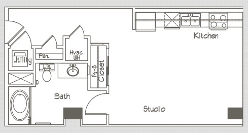 491 sq. ft. S1 floor plan