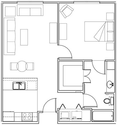 709 sq. ft. Jasmin/60% floor plan