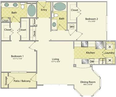 1,237 sq. ft. Torrey Pines floor plan