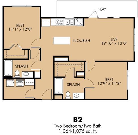 1,064 sq. ft. B3x floor plan