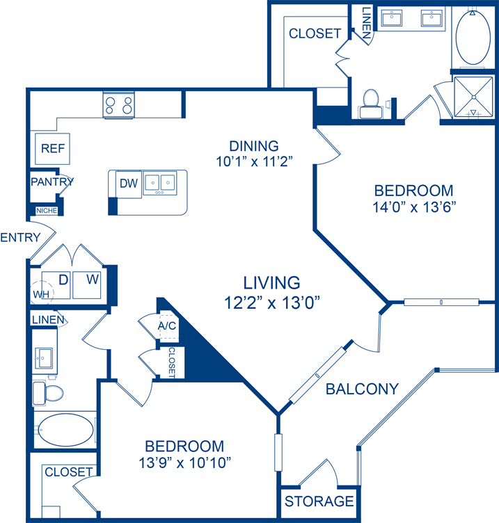 1,202 sq. ft. Yellowstar floor plan