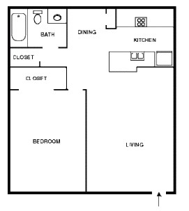 700 sq. ft. TANGIER floor plan