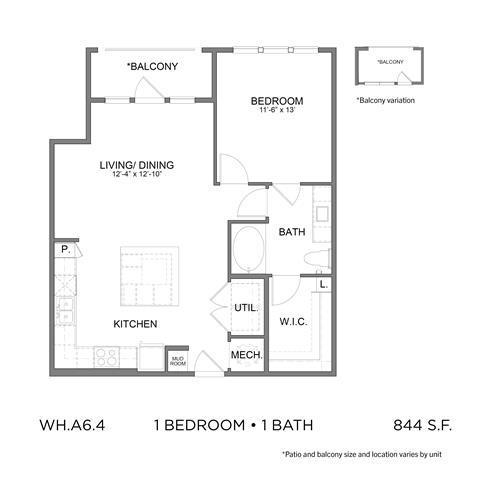 844 sq. ft. A6.4 floor plan
