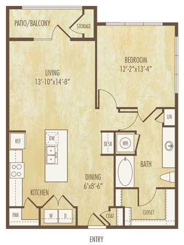 872 sq. ft. to 892 sq. ft. A3B floor plan