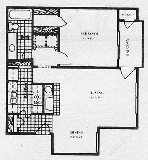 743 sq. ft. A2 floor plan