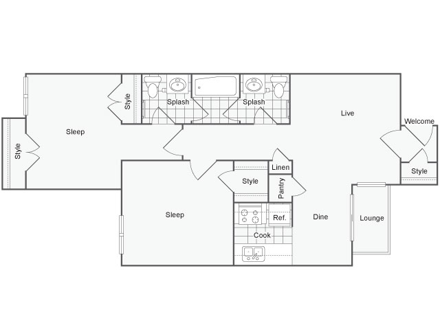 975 sq. ft. Sycamore floor plan