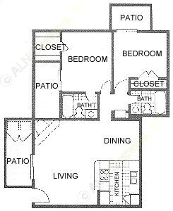828 sq. ft. D floor plan