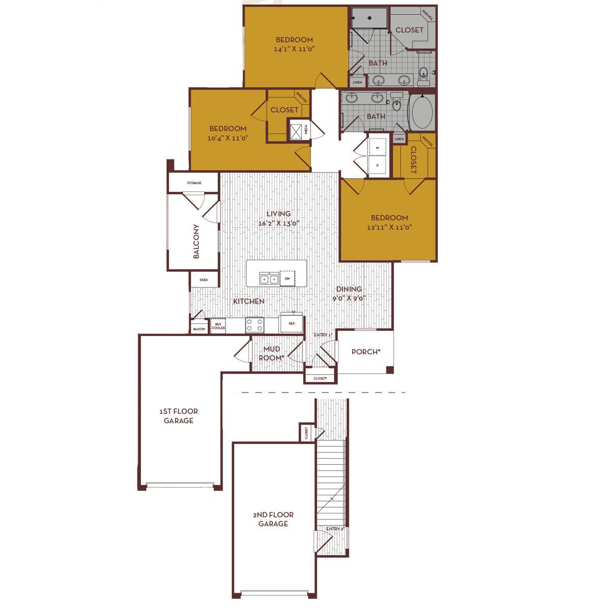 1,358 sq. ft. D1G1 floor plan