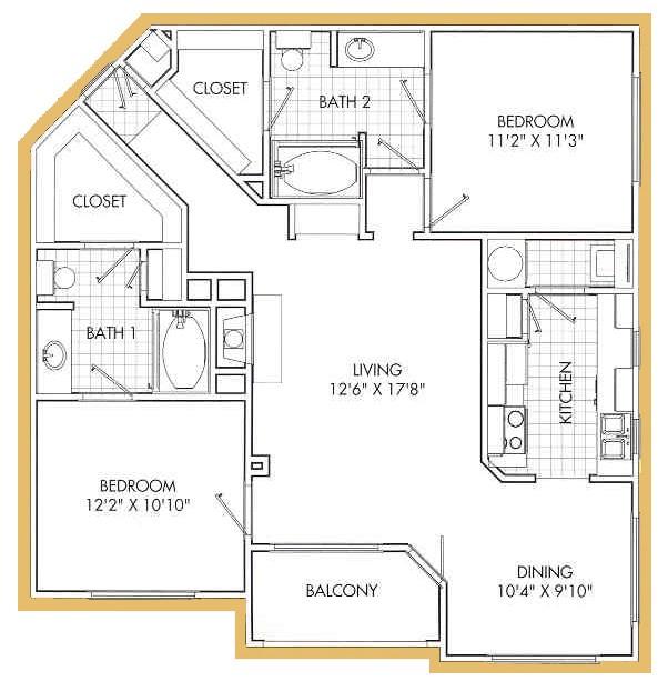 1,131 sq. ft. B3 floor plan