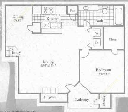 686 sq. ft. I floor plan