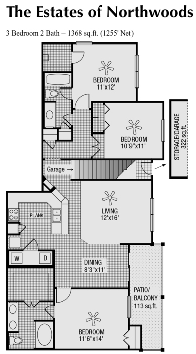 1,255 sq. ft. to 1,368 sq. ft. M floor plan