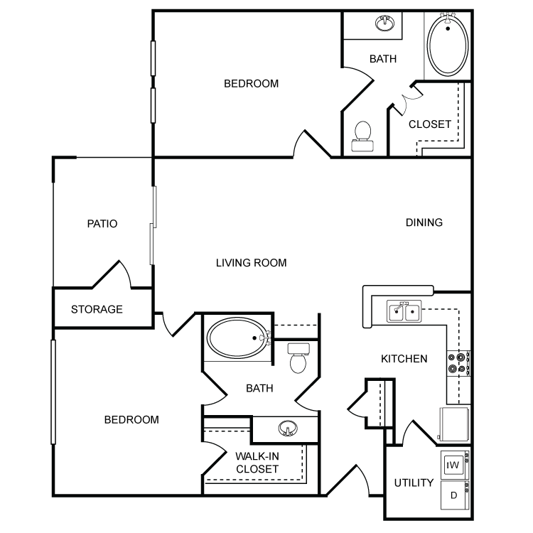 1,031 sq. ft. Coulterv floor plan