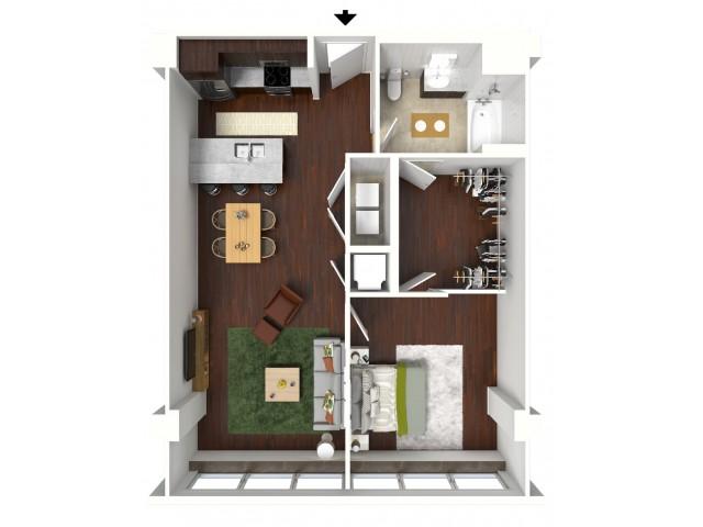 832 sq. ft. Teal floor plan