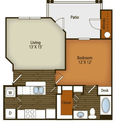 704 sq. ft. to 717 sq. ft. A1 floor plan