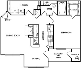 760 sq. ft. A3 floor plan
