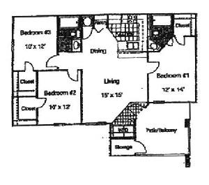 1,250 sq. ft. 60% floor plan