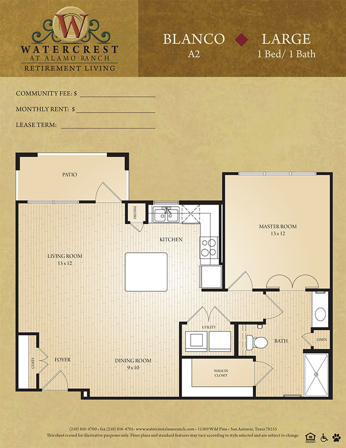 670 sq. ft. Blanco floor plan