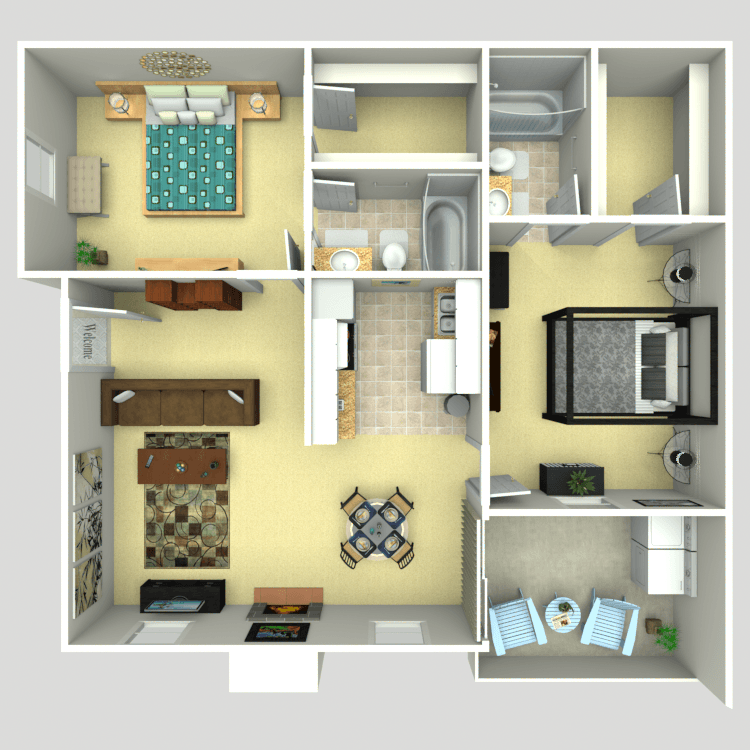 892 sq. ft. 2A floor plan