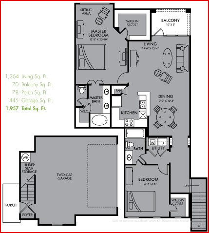 1,364 sq. ft. B6 floor plan