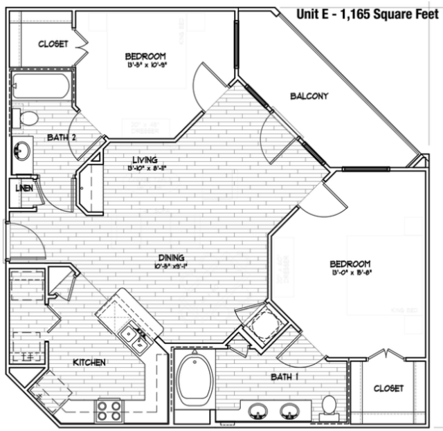 1,165 sq. ft. E-60 floor plan